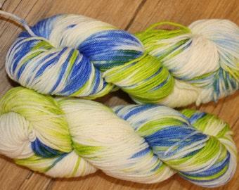"Superwash Hand Dyed Sock Yarn:  ""Blurry"""