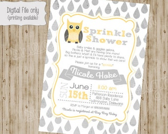Owl Baby Shower Invitation, Baby Sprinkle Invitation, Owl Sprinkle Baby Shower Invitation, Sprinkle Shower
