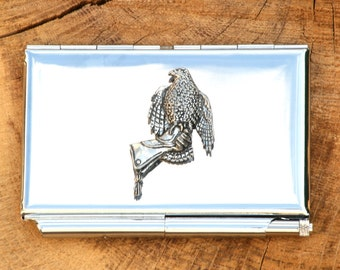 Hawk On Glove Credit Card Holder Falconry Notepad Gift