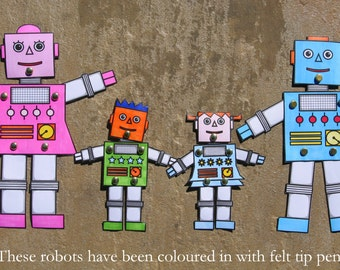 Robot Family - Split Pin Paper Robots - Jointed Paper Robots - PDF Download - Printable Robots - Birthday Party Favour - Robot Colouring