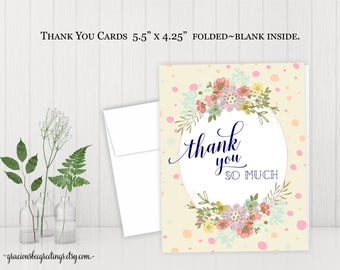 Thank You Cards, Thank You Notes, Thank You Stationery, Wedding, Bridal, Baby Shower, Birthday, Sip and See, Digital, Printable