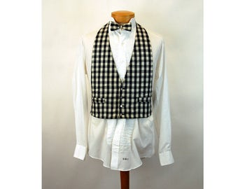 Vintage men's tuxedo vest and matching tie black white checked formal wear One Size