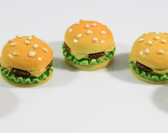 Set of 5 Cheeseburger Charms, Slime Supply, Craft Supply