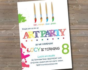 Kids Art party Invitation, Kids Birthday invitation, Kids Party Invitation, Drawing invitation,