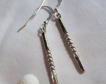 Sterling Silver Twisted Bar Earrings - Drop / Dangle - Handmade