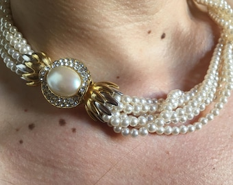 Vintage years ' 80 pearl choker necklace