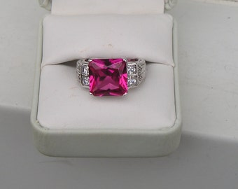 Pretty Charles Winston CWE Sterling Silver 925 Raspberry Pink & Clear Cubic Zirconia CZ Ring