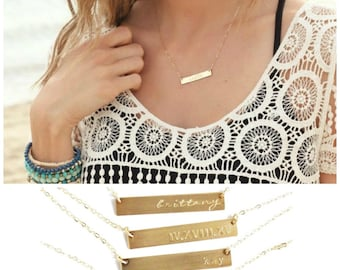 Custom Name Necklace, Personalized Bar Necklace, Gold Bar Necklace, Initial Necklace, Gold Necklace, Personalized Necklace, Name Necklace