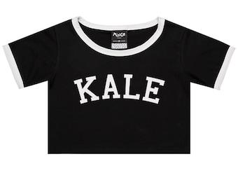 Kale Ringer Tee Crop Top T Shirt Womens Girl Funny Fun Tumblr Hipster Swag Grunge Kale Goth New Retro Vtg Fashion Indie Boho Punk Vegan New