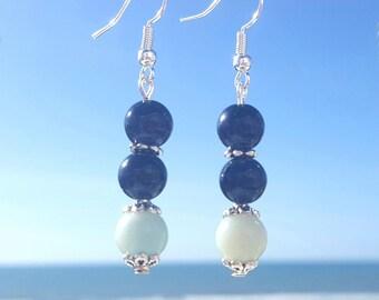 Goldstone Earrings, Blue Goldstone Amazonite Earrings, Blue Amazonite Earrings, Dangle Drop Earrings, Two Tone Blue Earrings