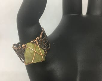 Copper cuff ring with Green Opal