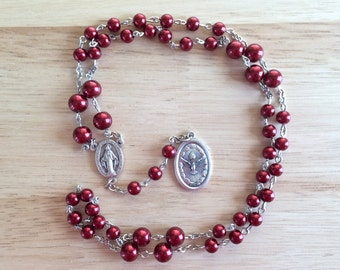 Holy Ghost Handmade Catholic Chaplet with Red Glass Pearl Beads