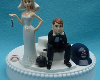 Wedding Cake Topper Cleveland Indians Tribe Baseball Themed Ball and Chain Key w/ Bridal Garter Humorous Sports Fans Bride Groom Funny Top