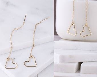 Wire Heart Shaped Ear Threader, Mother's Day Gift, Gift for Her, Floating Heart Ear Threader, Dangle Heart Earrings, Large Heart Earrings