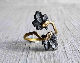Double Snake Ring Ouroboros Adjustable Onyx Silver and Golden Bronze Gothic Ring C&S