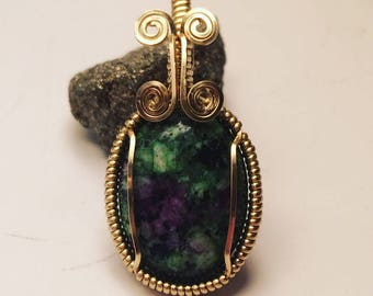 Natural Handmade Ruby-in-Zoisite in Brass Wire Pendant