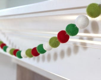 Red, Green Christmas Garland Felt Ball Garland- Christmas Holiday Decor in Red, Kelly, Lime & White