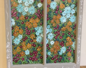 Old Window, Hand Painted, Vintage, baby blue, orchre, burgandy and teal field flowers