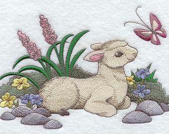 Adorable Easter Lamb with Flowers and Butterfly Embroidered Flour Sack Hand/Dish Towel