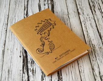 Cute Notebook, Mini Dinosaur Journal, Illustrated Notebook, Pocket Journal