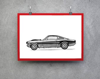 Original Painting Original Art Ford Mustang Gifts Ford Mustang Art Ford Mustang Car Wall Art Mechanic Gift Car Enthusiast Ford Mustang Decor
