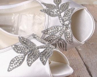 Custom Wedding Shoes -- Light Ivory Peeptoe Wedge Wedding Shoes with Silver Crystal Rose Applique on the Toe and Heel