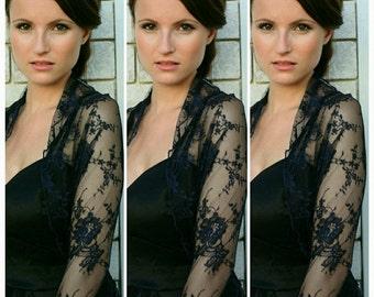 Bridesmaids Shrugs Boleros. Set Of 3 Navy Blue Lace Wedding Shawls With 4 Wearing Ways- Shawl, shrug, Crisscross And Infinity Scarf DL125