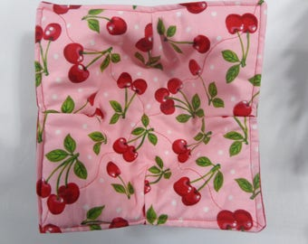 Red Cherries on Pink - Microwave Bowl Cozy