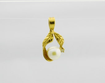 Vintage Pearl Pendant, 14k Gold Pendant, Pearl Jewelry, Gold Jewelry