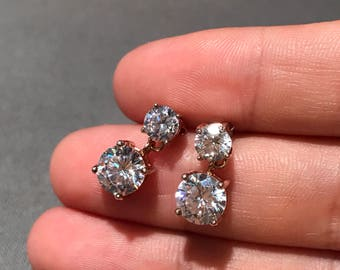 Vintage gold over sterling silver earrings, 925 silver with round shaped clear cz drops, stamped 925 CZ