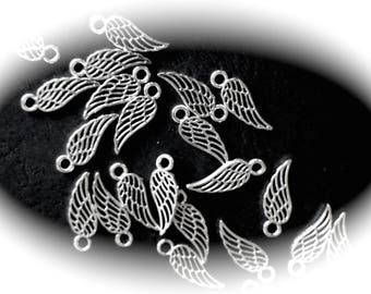 10 charms wings of angels openwork 3D silver metal feathers
