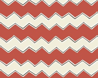 By The HALF YARD - Playground by Vita Mechachonis for Camelot, Pattern #1140604-02 Zig Zags Red, Red, Cream and Black Chevron