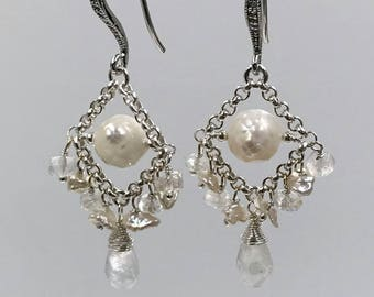 Moonstone Chandelier Earring Pearl Chandelier Earring Petite Gemstone Chandelier Earrings Sterling Silver Wedding Earring Bridal Earrings