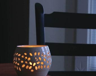 Pottery Candle Gift, Luminary Wedding Decor Candle Tea Light, Wedding New Home Gift, White Pottery Votive, Pretty Little Liars Lantern