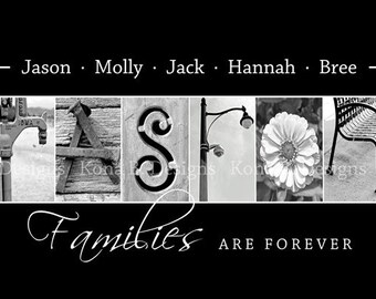 Alphabet photography - Personalized Photo Letter Art - Family Name print -  10x20 Unframed