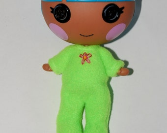 "Apple Green Footie Pajamas - Lalaloopsy Littles 7"" doll clothes - tkct483"