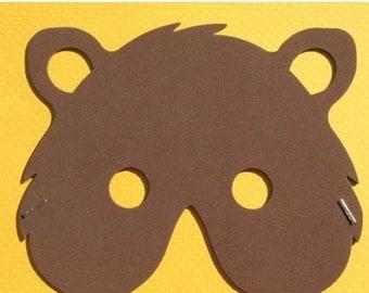 50% OFF - Friendly Bear - Masquerade Mask - Dark Brown, Light Brown or White