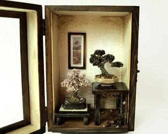 Bonsai Trees set, Vintage miniature Dollhouse 1/12 (BMS03)