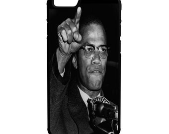 Malcolm X speech iPhone Galaxy Note LG HTC Protective Hybrid Rubber Hard Plastic Snap on Case Black