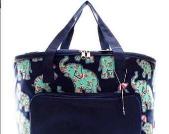 N Gil Insulated Cooler Shoulder Bag with elephant pattern.