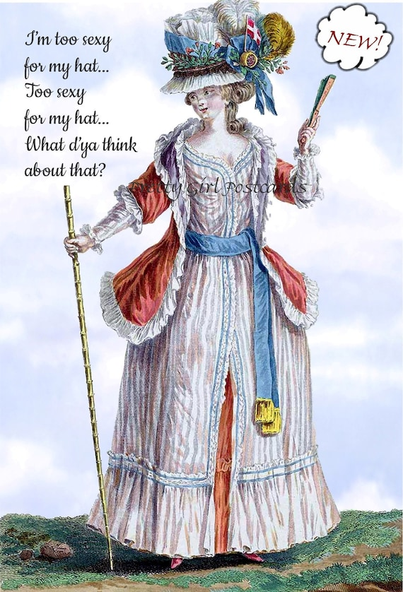Marie Antoinette Post Card ~ I'm Too Sexy ~ Funny Postcard ~ Funny Card ~ Pretty Girl Postcards ~ Funny Birthday Card ~ Funny Greeting Card