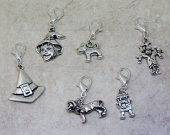 Wizard of Oz collection stitch marker/progress keeper/clip on charm/bag charm/zipper/planner charm set Magic Dog Tinman Lion Scarecrow witch