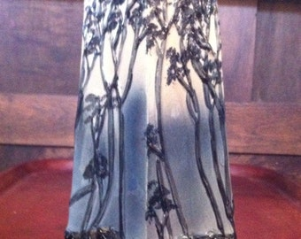 Rare Small Hand Painted Bamboo in Relief Paneled Porcelain Vase