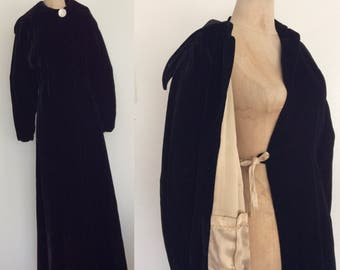 1940's Black Silk Velvet Opera Coat Floor Length Size XS Small by Maeberry Vintage