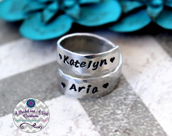 Custom Hand stamped Personalized Wrap Ring Adjustable