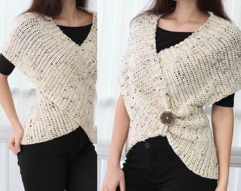 Easy Crochet pattern, Beginner crochet, Crochet wrap -LEYA Crochet Infinity Wrap-Vest, Crochet Poncho Crochet Vest, Crochet wrap sweater PDF