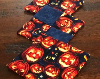 Halloween pumpkin reversible fabric mug rugs set of 4