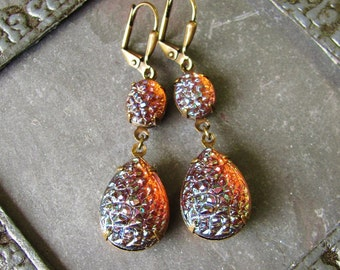 Amaretto Kiss - Sugar Stone Glass and Antique Brass Earrings