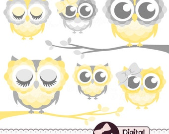 Nursery Owl Clip Art, Digital, Printable Grey and Yellow Owl Clipart Images