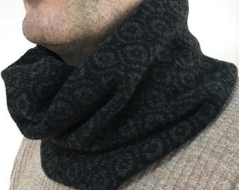 Mens snood, mens knitted lambswool snood, men's knit cowl, mens gift, mens knitted cowl, mens accessories, mens scarf, handmade snood,